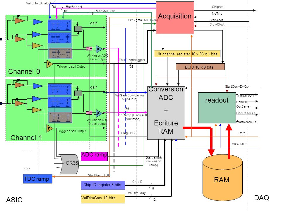 DAQ ASIC Chip ID register 8 bits gain Trigger discri Output Wilkinson ADC Discri output gain Trigger discri Output Wilkinson ADC Discri output..… OR36 EndRamp (Discri ADC Wilkinson) 36 TM (Discri trigger) ValGain (low gain or high Gain) ExtSigmaTM (OR36) Channel 1 Channel 0 ValDimGray 12 bits … Acquisition readout Conversion ADC + Ecriture RAM RAM FlagTDC ValDimGray 12 8 ChipID Hit channel register 16 x 36 x 1 bits TDC ramp StartRampTDC BCID 16 x 8 bits ADC ramp Startrampb (wilkinson ramp) 16 ValidHoldAnalogb RazRangN 16 ReadMesureb Rstb Clk40MHz SlowClock StartAcqt StartConvDAQb StartReadOut NoTrig RamFull TransmitOn OutSerie EndReadOut Chipsat