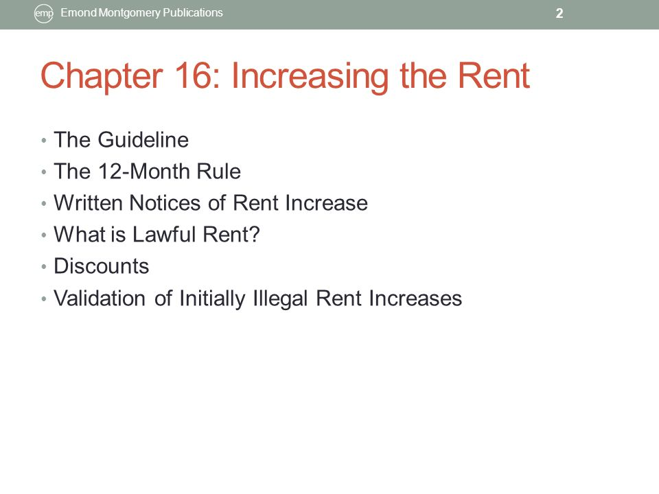 CHAPTER 16 INCREASING THE RENT Emond Montgomery Publications Ppt