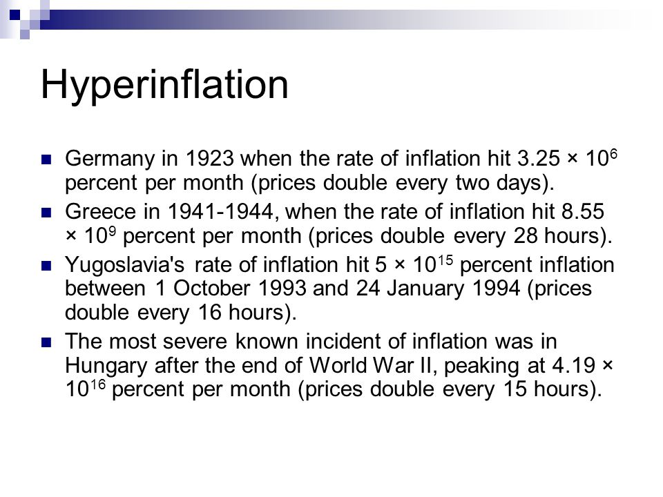 Hyperinflation Germany In 1923 When The Rate Of Inflation Hit 325 X 10 6 Percent Per