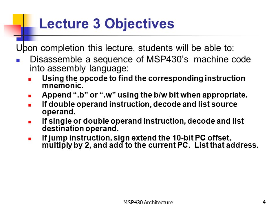 Lecture 3 Msp430 Isa The Instruction Set Reading Chapter 5