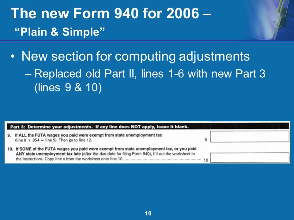 The New Form 940 For 2006 Plain Simple Irs Taxpayer Burden