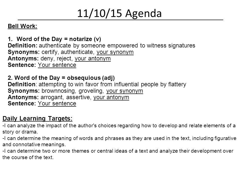 Language Arts 7 Daily Agenda Mr  Schmitt & Mr  Opfermann