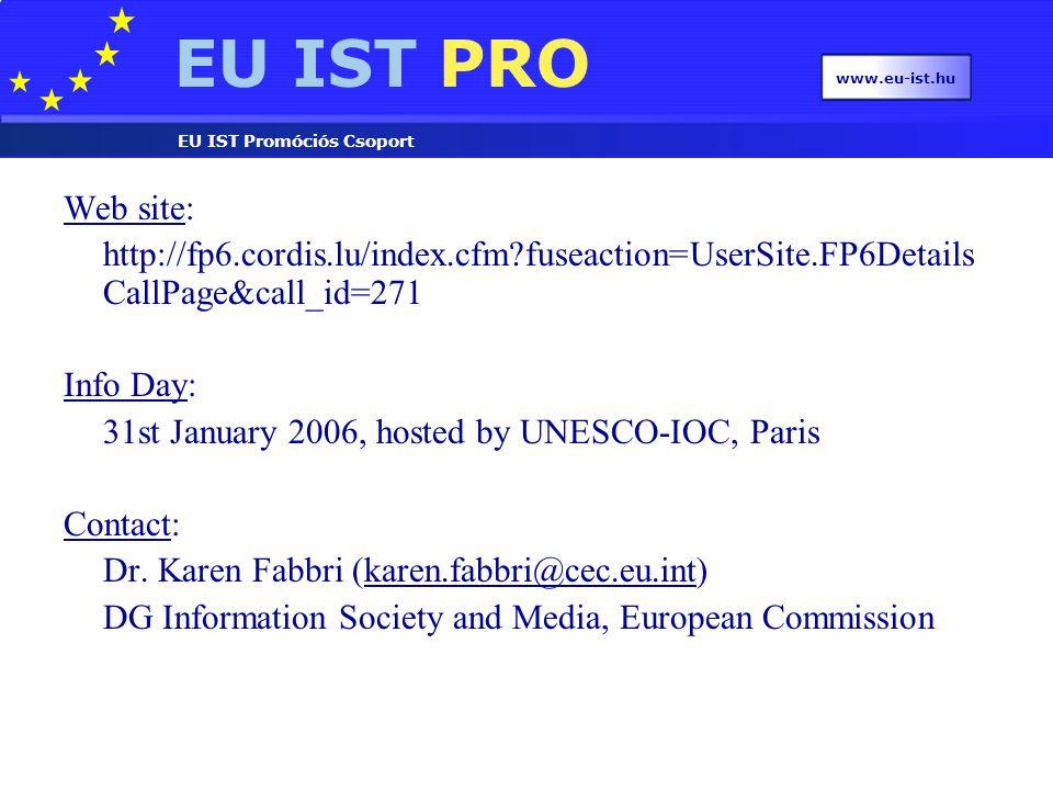 EU IST PRO EU IST Promóciós Csoport IST – 6 th call for