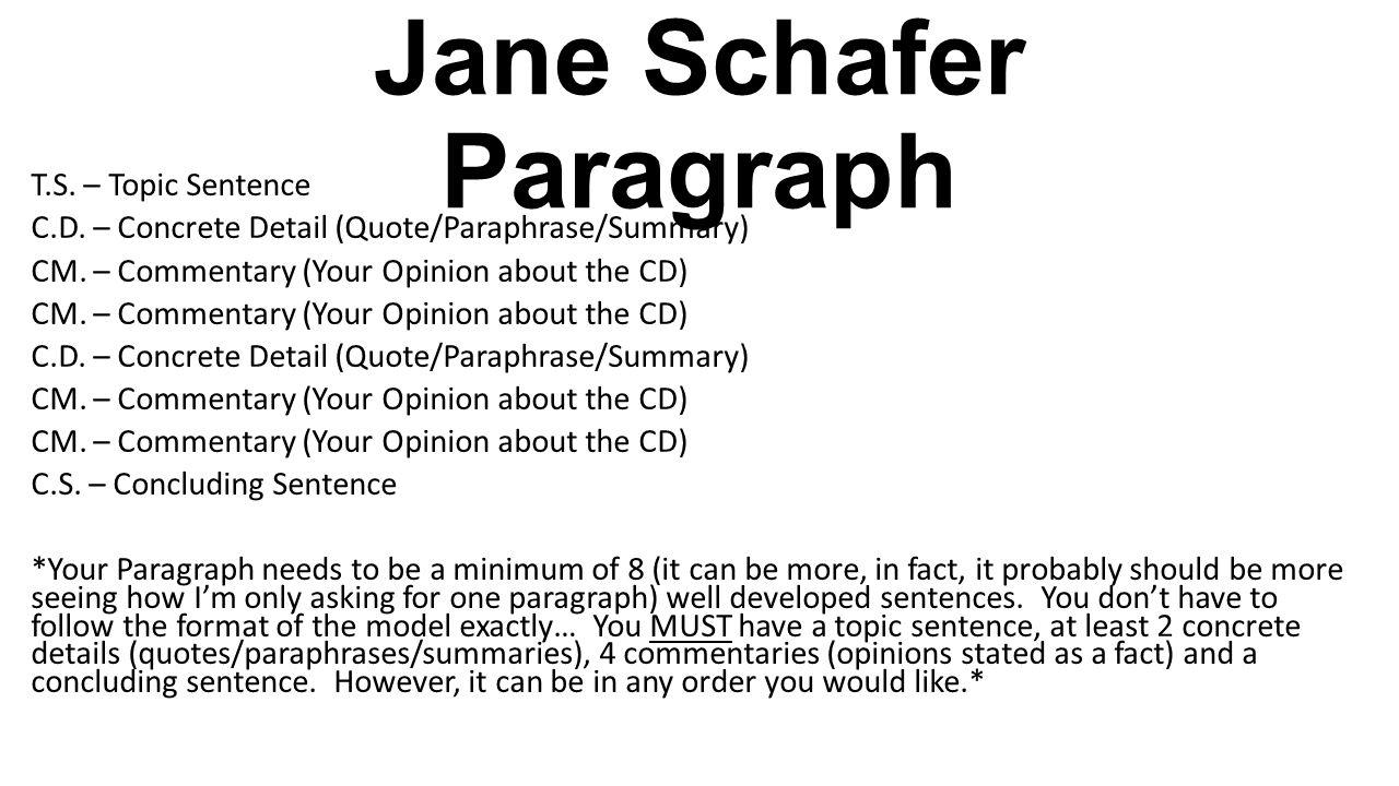 jane schaffer paragraph example