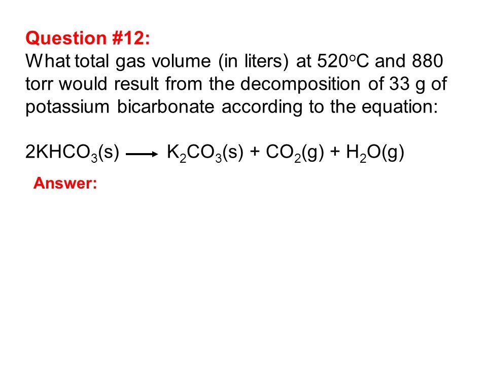 thermal decomposition of potassium hydrogen carbonate