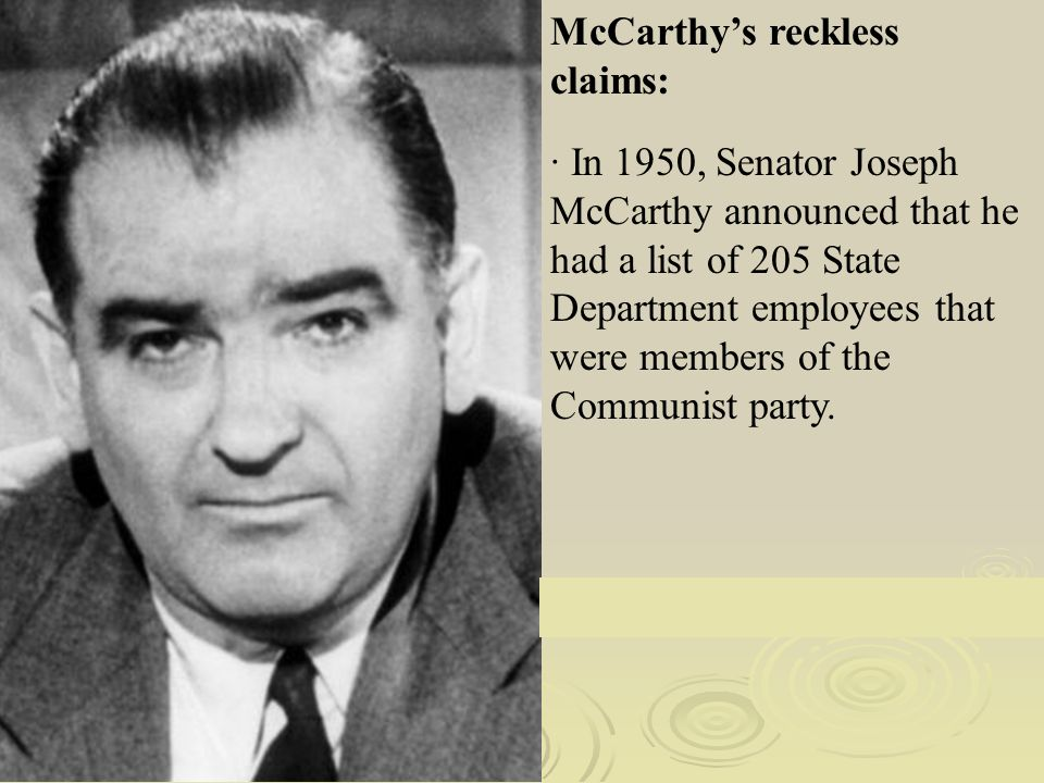 Image result for senator mccarthy charges the state department of loaded with communists in 1950