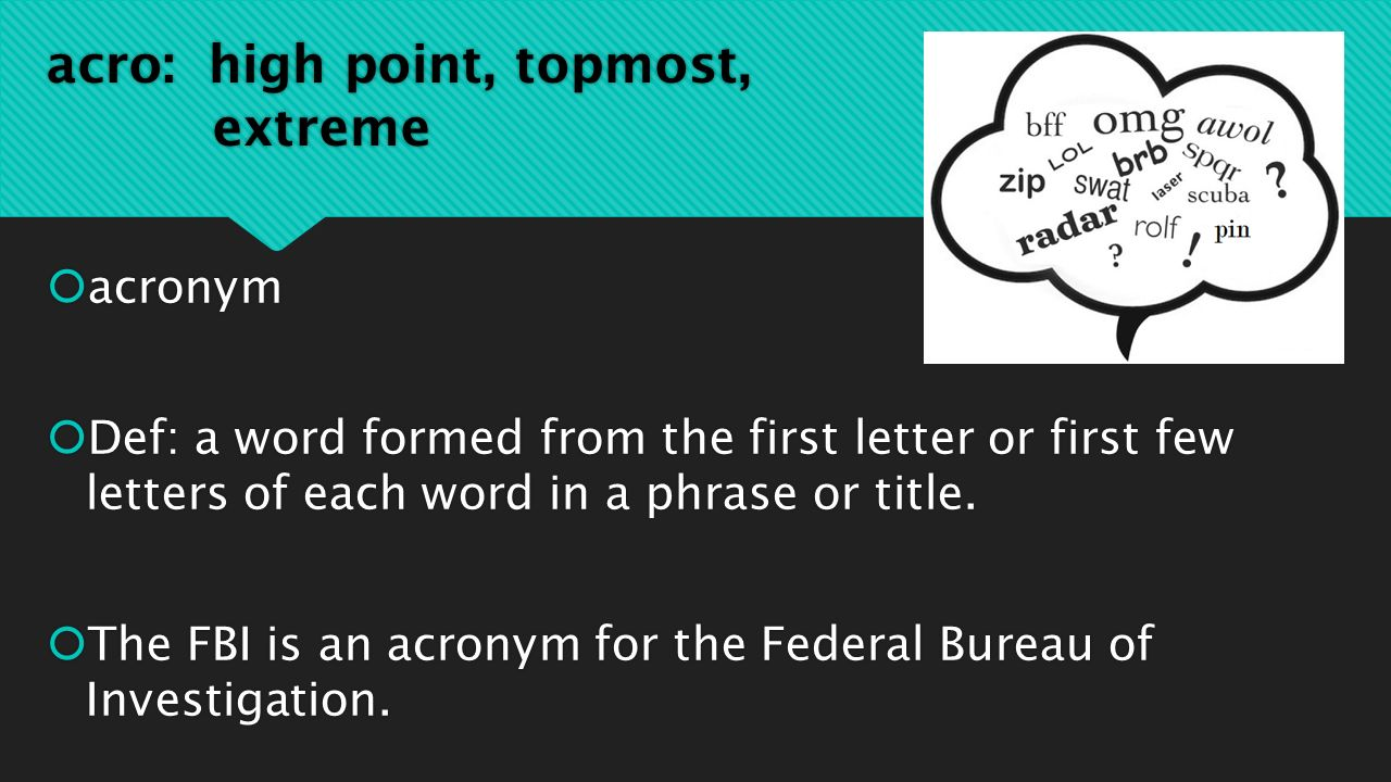 9 Th Grade Unit 1 Acro High Point Topmost Extreme Acronym