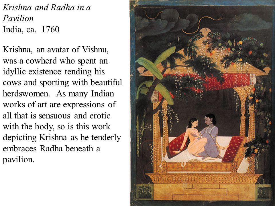krishna and radha in a pavilion