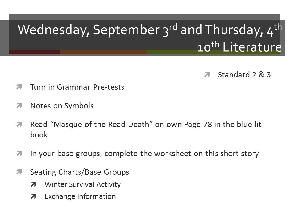 Wednesday September 3 Rd And Thursday 4 Th 10 Th Literature