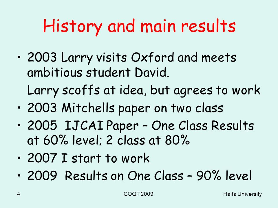Haifa UniversityCOQT 20094 History and main results 2003 Larry visits Oxford and meets ambitious student David.