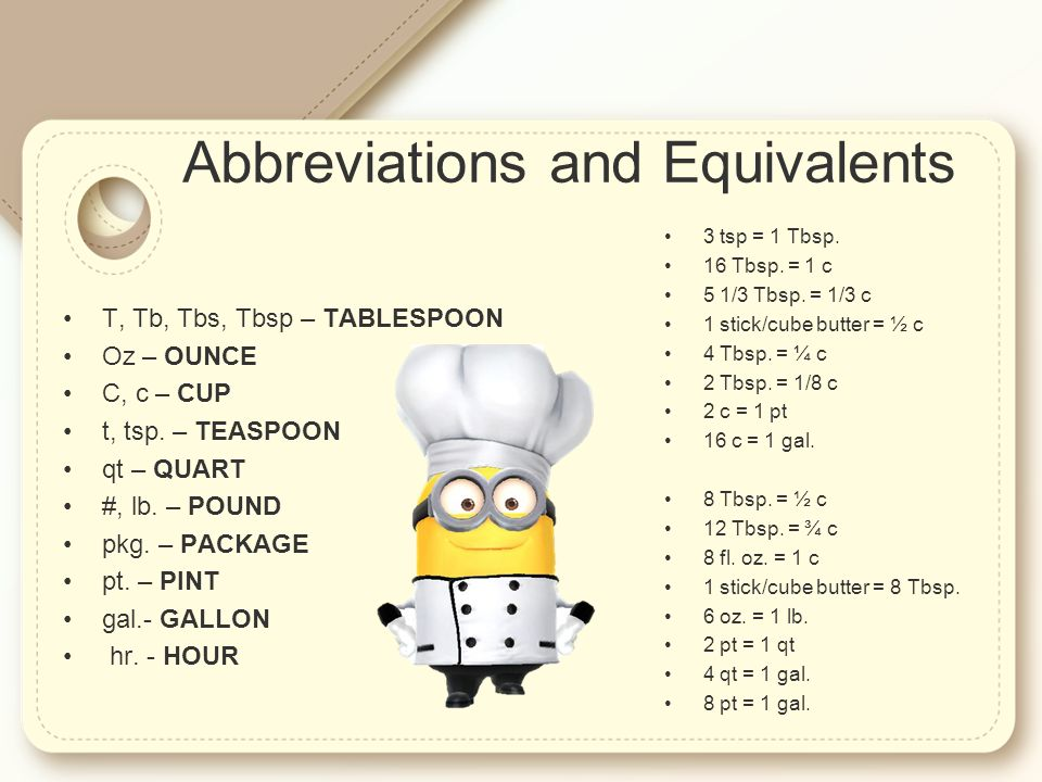 Measurements And Equivalents Recipe Basics Adjustments