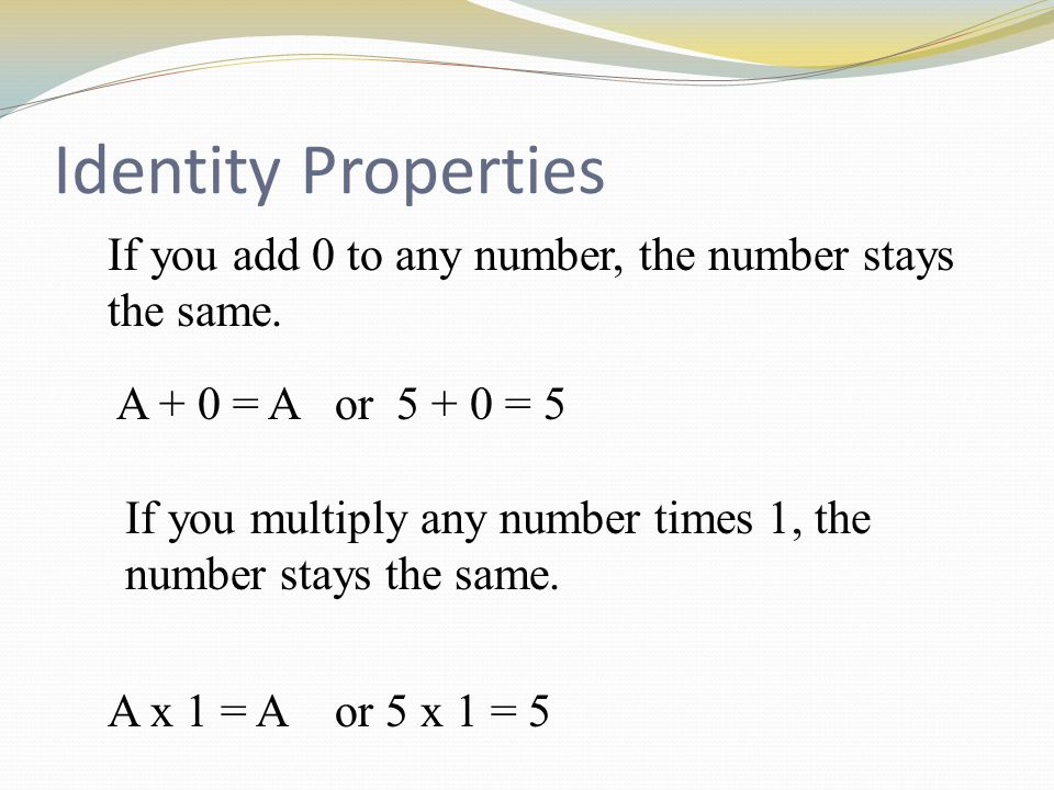 Associative Property of multiplication and Addition Associative Property of multiplication  (a · b) · c = a · (b · c) Example: (6 · 4) · 3 = 6 · (4 · 3) Associative Property of addition  (a + b) + c = a + (b + c) Example: (6 + 4) + 3 = 6 + (4 + 3)