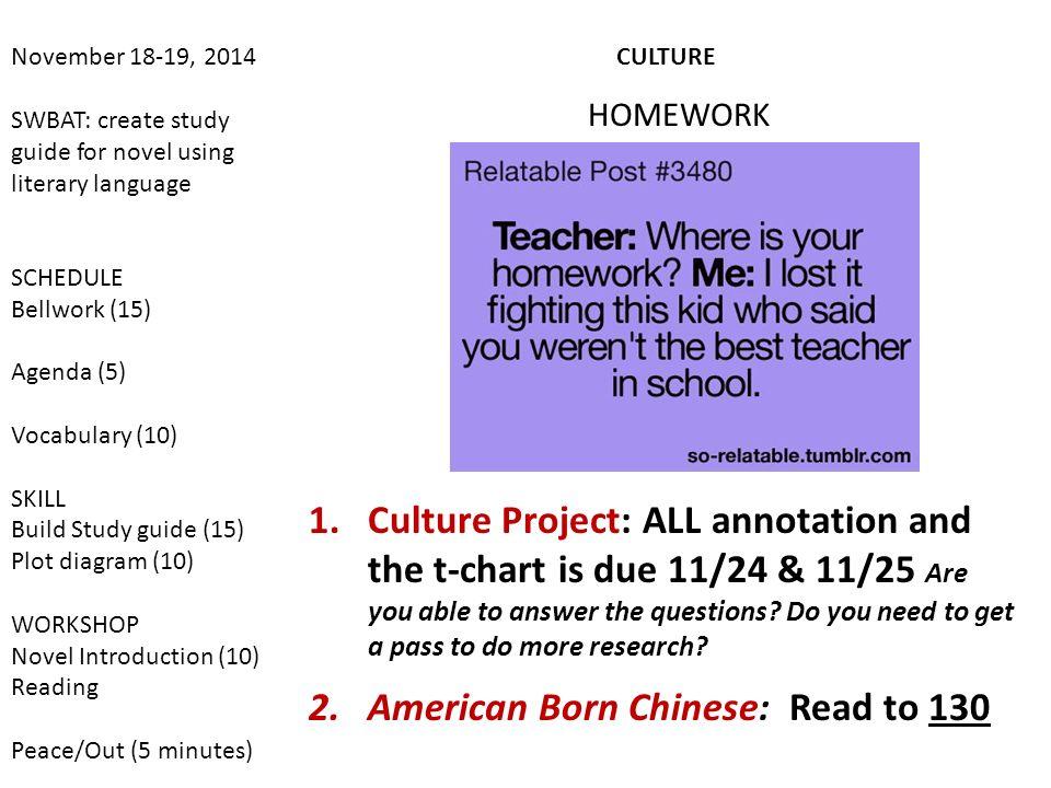November 18-19, 2014 SWBAT: create study guide for novel