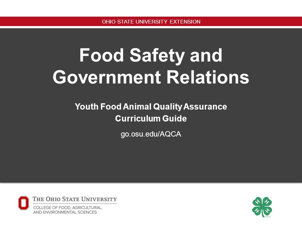 OHIO STATE UNIVERSITY EXTENSION go osu edu/AQCA Youth Food