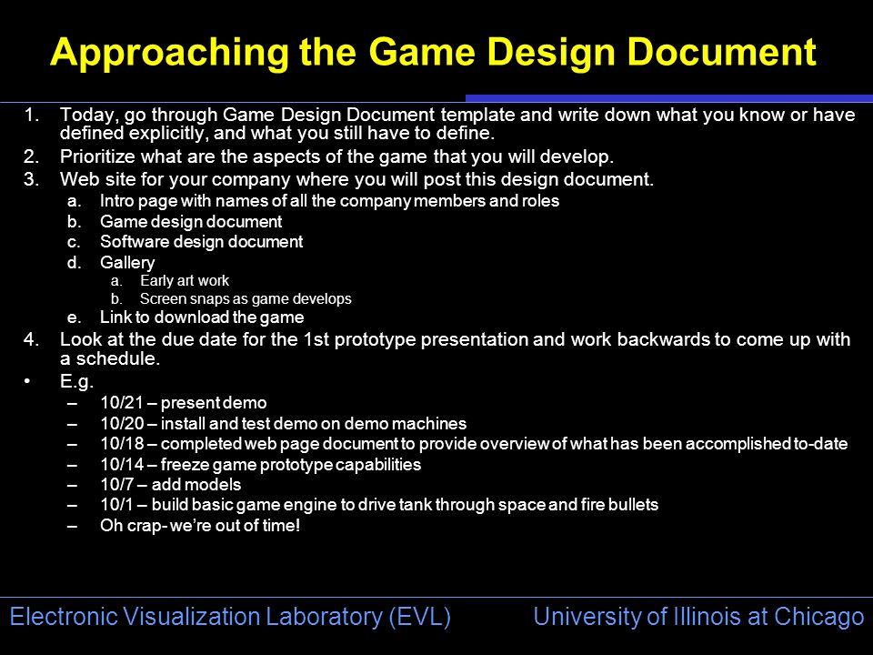 University Of Illinois At Chicago Electronic Visualization - How to write a game design document