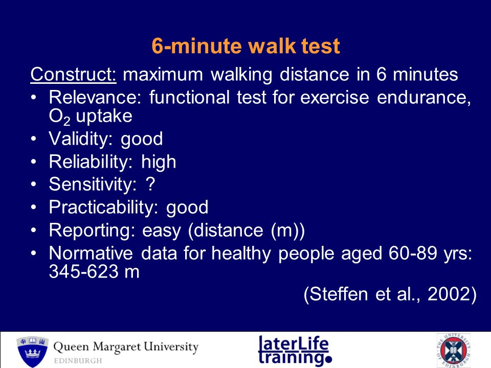 6 Minute Walk Test Construct Maximum Walking Distance In 6 Minutes Relevance Functional