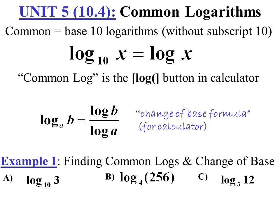 Unit 5: logarithmic functions inverse of exponential functions.