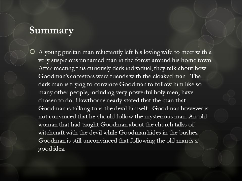 Goodmans journey to challenge his faith in himself in young goodman brown a short story by nathaniel