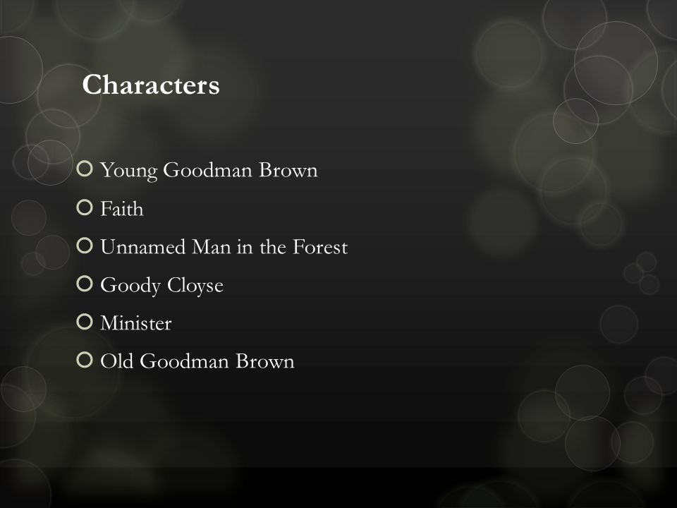young goodman brown characters