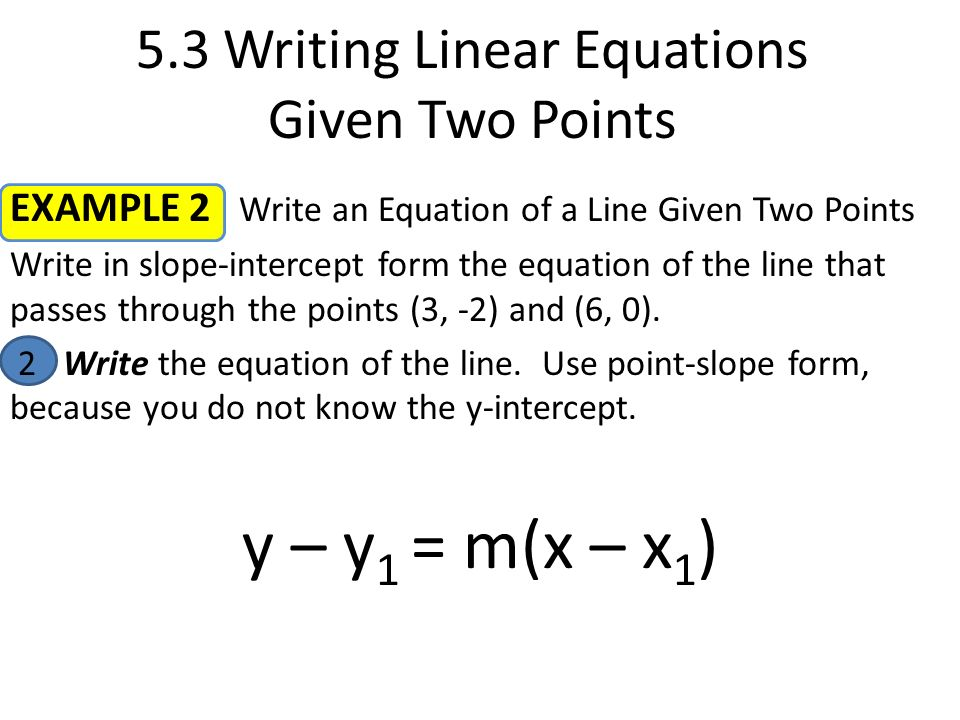 Warm Up Youre Certified 53 Writing Linear Equations Given Two