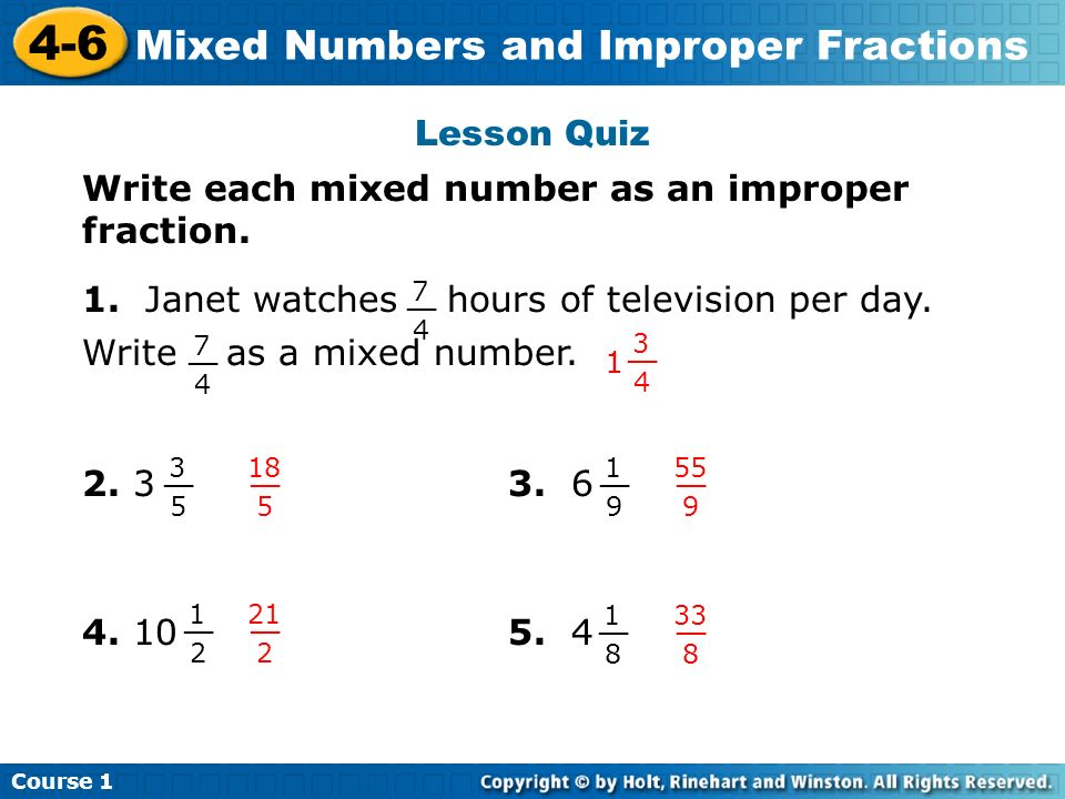Lesson Quiz Write Each Mixed Number As An Improper Fraction
