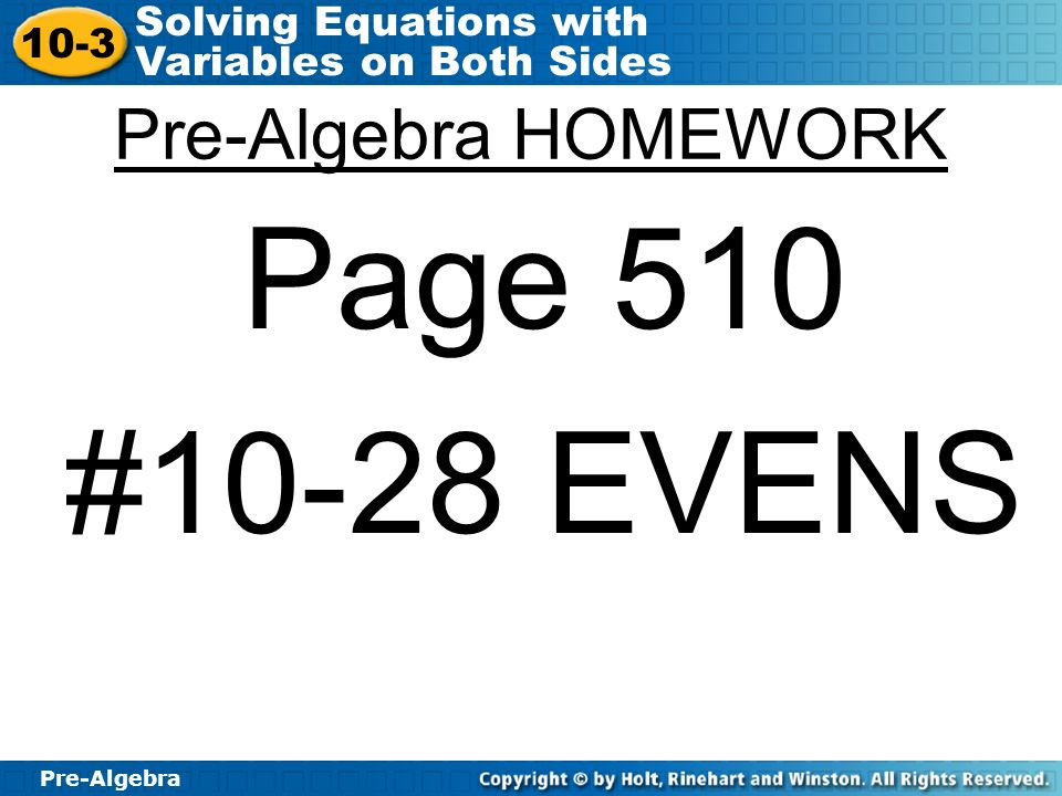 lesson 10-3 homework and practice solving equations with variables on both sides