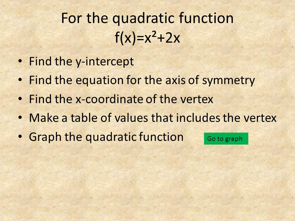 For the quadratic function f(x)=x²+2x Find the y-intercept Find the equation for the axis of symmetry Find the x-coordinate of the vertex Make a table of values that includes the vertex Graph the quadratic function Go to graph