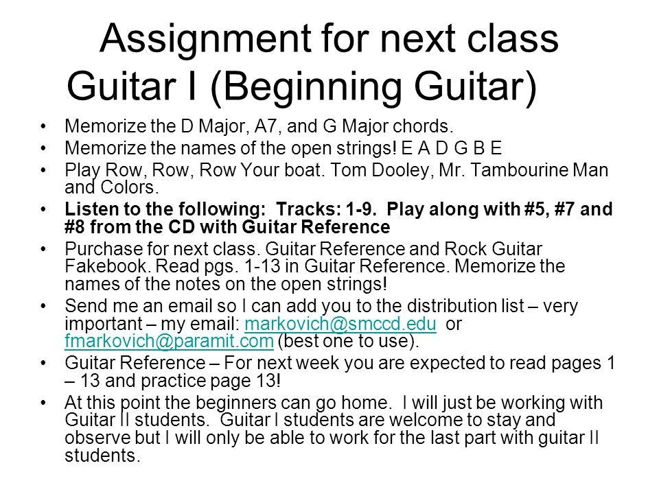Guitar I and Guitar II Class 1 Music 377 Guitar I, Beginning Guitar ...