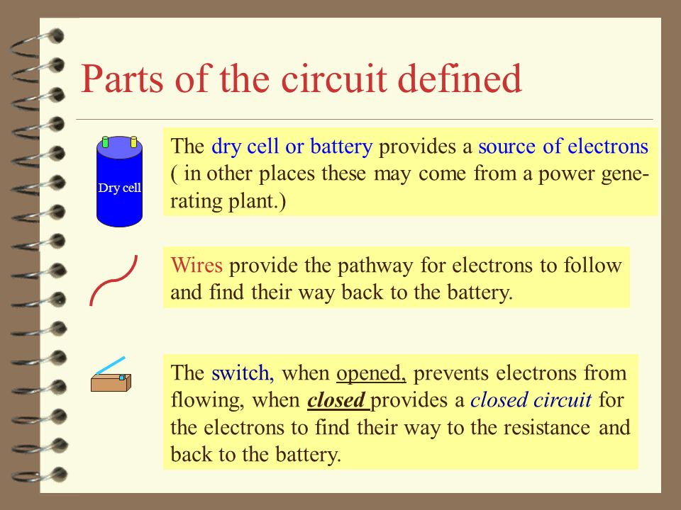 11.4 Electric Circuits *Identify parts of a circuit *Trace the path ...