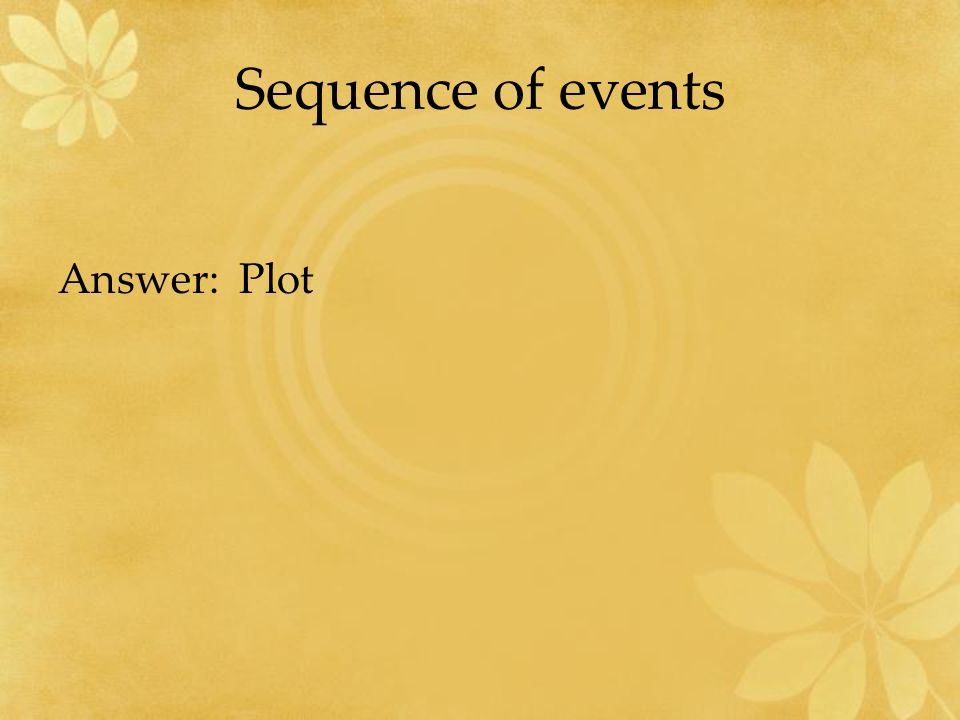 Sequence of events Answer: Plot