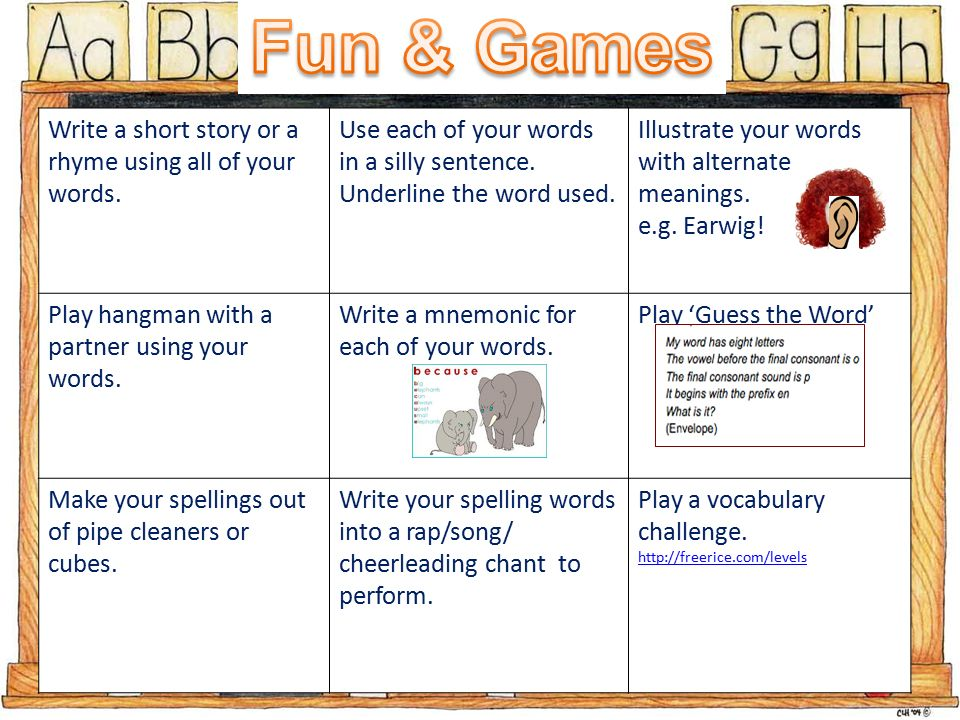 Write A Short Story Or A Rhyme Using All Of Your Words Use Each Of