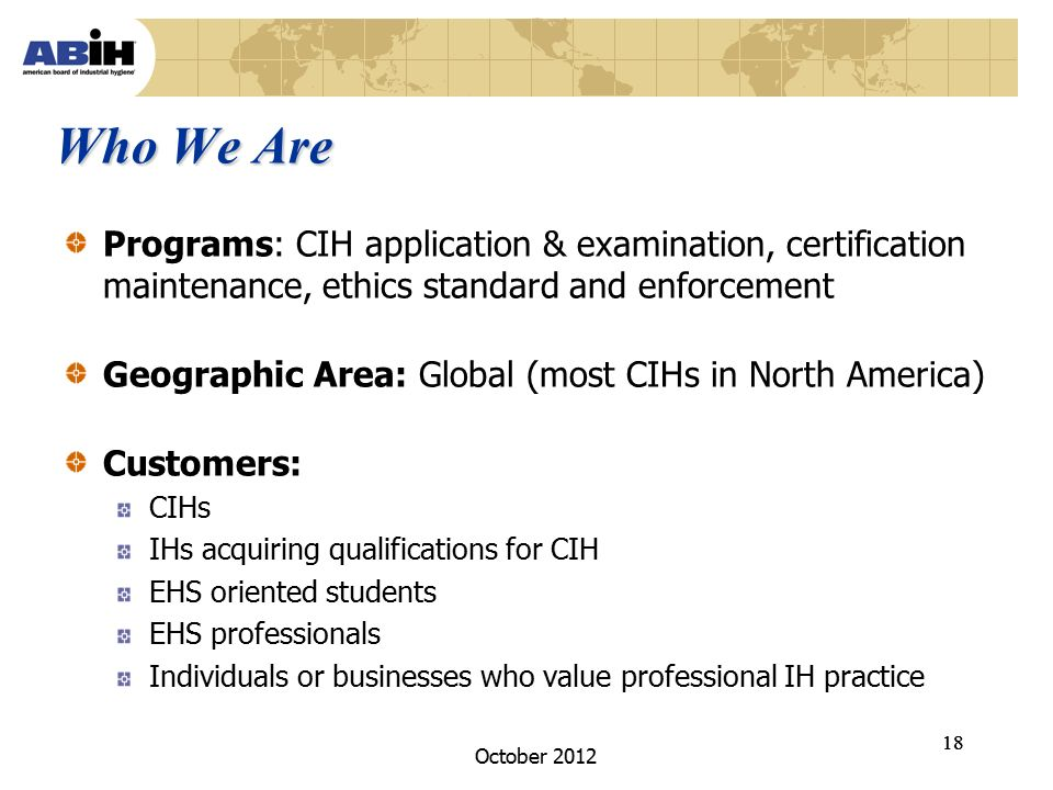 October 2012 ABIH Update for MIHS Mini-Conference October 16, ppt ...