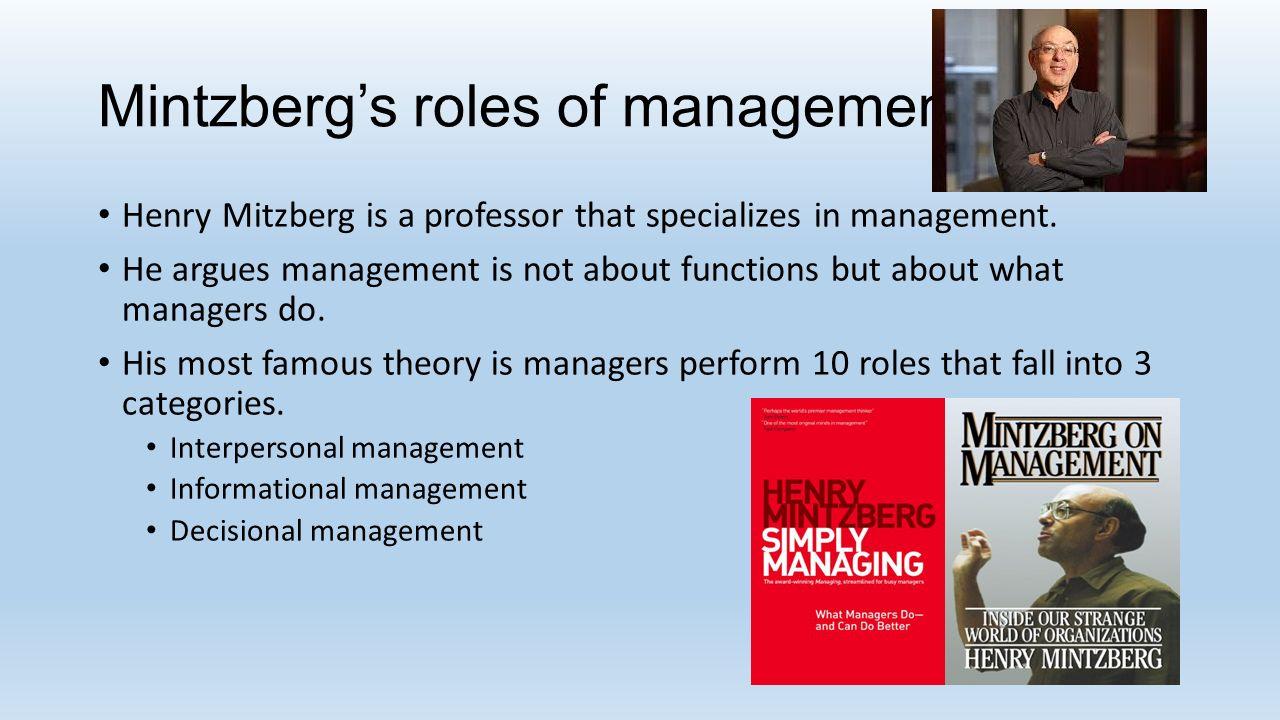 14 Mintzberg's roles of management ...