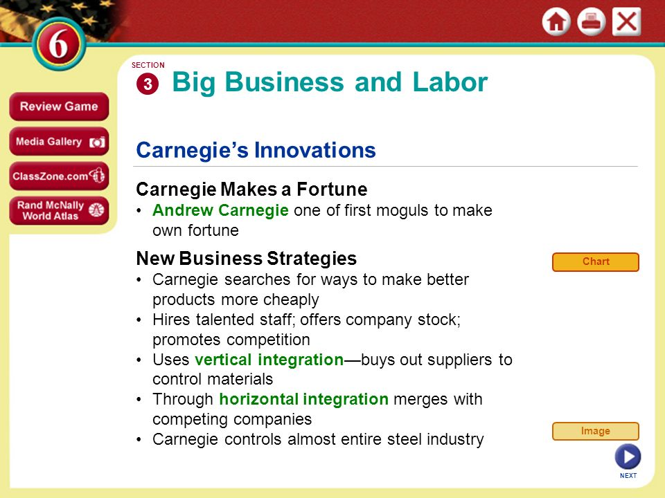NEXT Carnegie's Innovations Carnegie Makes a Fortune Andrew Carnegie one of first moguls to make own fortune Big Business and Labor 3 SECTION New Business Strategies Carnegie searches for ways to make better products more cheaply Hires talented staff; offers company stock; promotes competition Uses vertical integration—buys out suppliers to control materials Through horizontal integration merges with competing companies Carnegie controls almost entire steel industry Chart Image