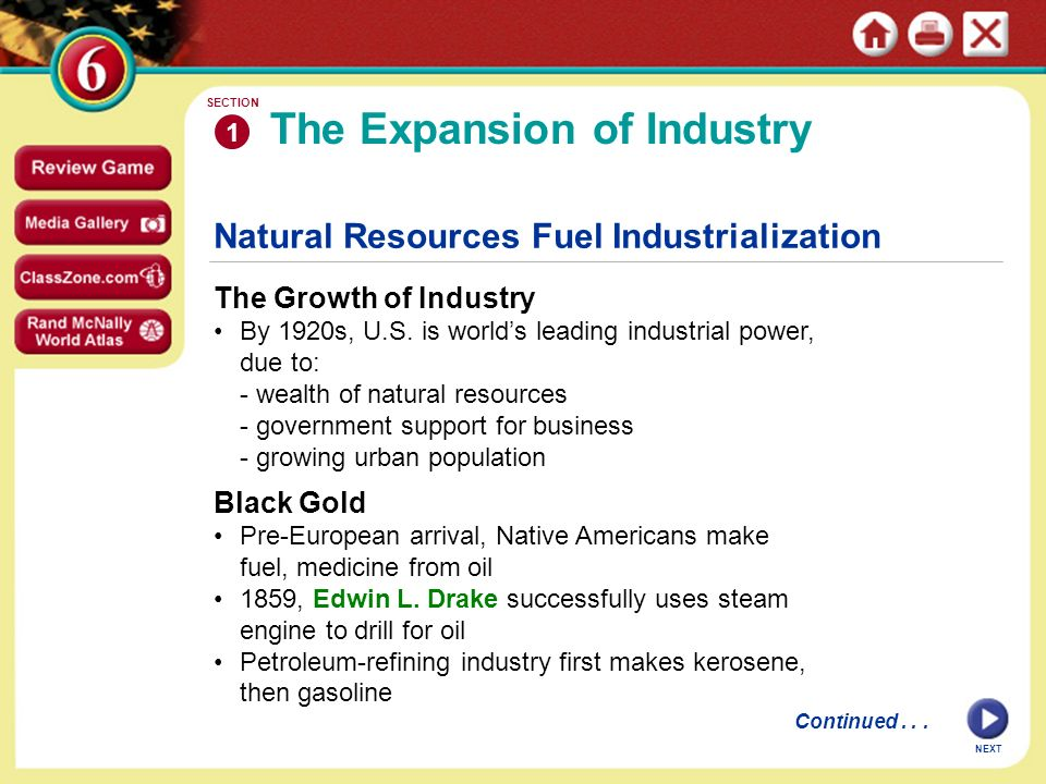 Natural Resources Fuel Industrialization The Growth of Industry By 1920s, U.S.