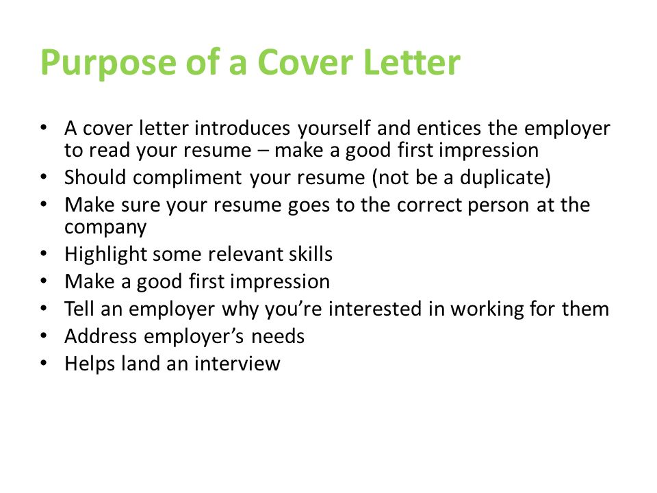 Cover Letters. Purpose of a Cover Letter A cover letter ...