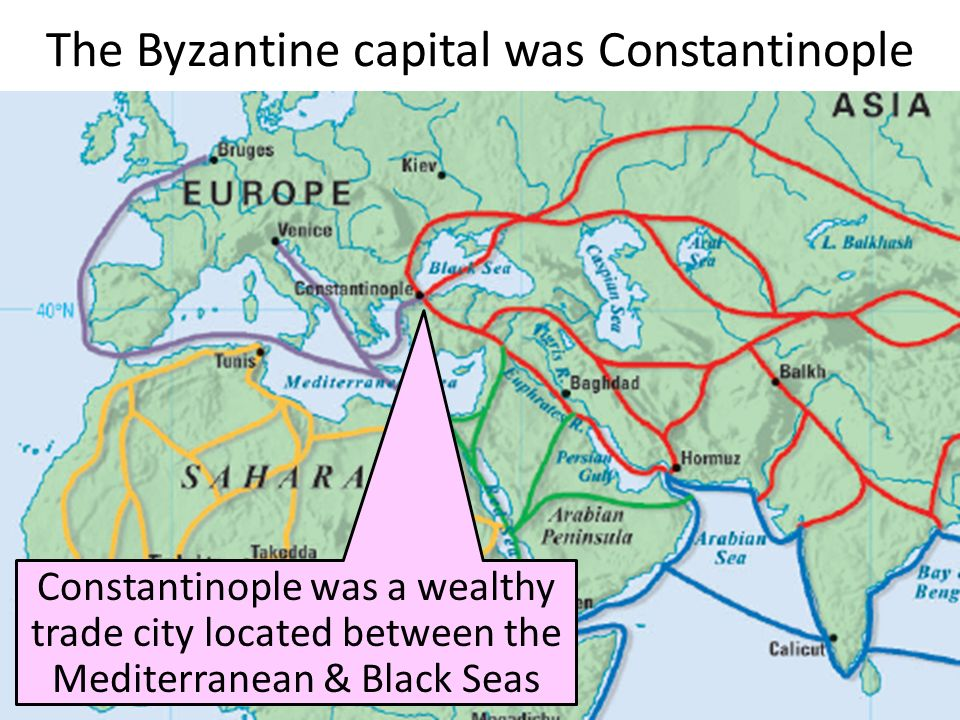 The Byzantine capital was Constantinople Constantinople was a wealthy trade city located between the Mediterranean & Black Seas