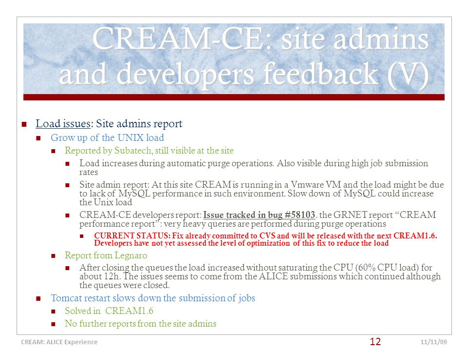 CREAM: ALICE Experience WLCG GDB Meeting, CERN 11th November 2009 Stefano Bagnasco (INFN-Torino), Jean-Michel Barbet (Subatech), Latchezar Betev (ALICE), - ppt download - 웹