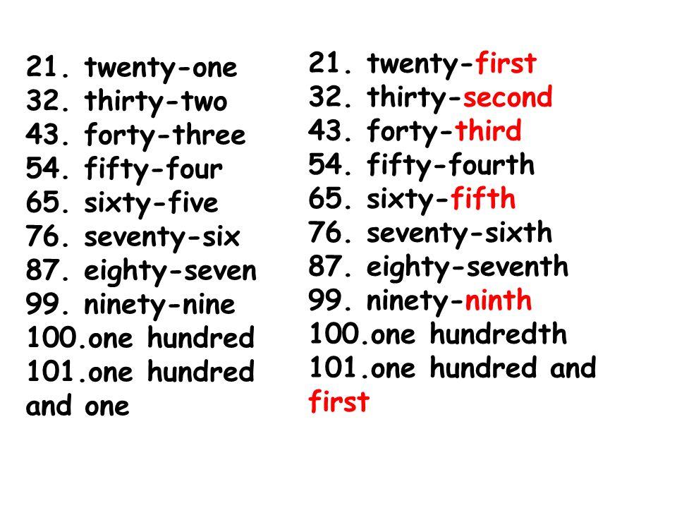 21 Twenty One 32 Thirty Two 43 Forty Three 54