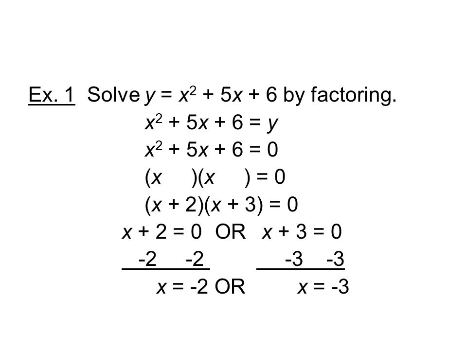 Ex. 1 Solve y = x 2 + 5x + 6 by factoring.