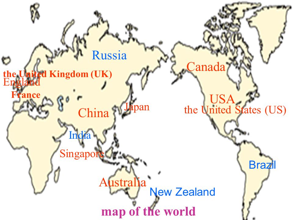 Map Of China And Usa.Unit 1 Where S Your Pen Pal From Section A The Map Of The World