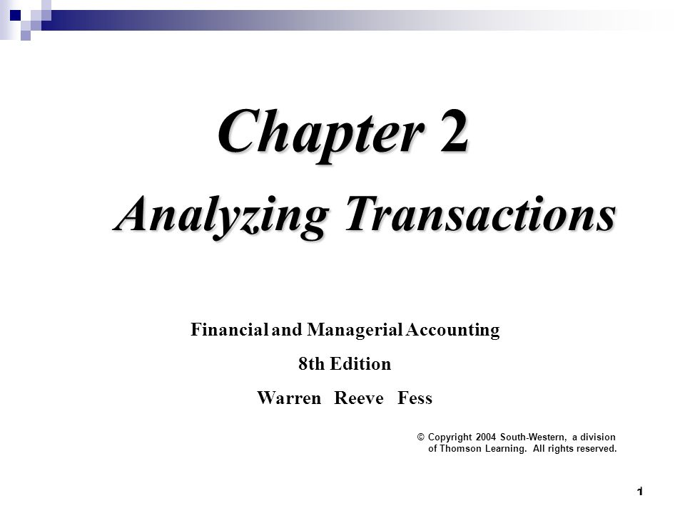 1 Chapter 2 Analyzing Transactions Financial And Managerial