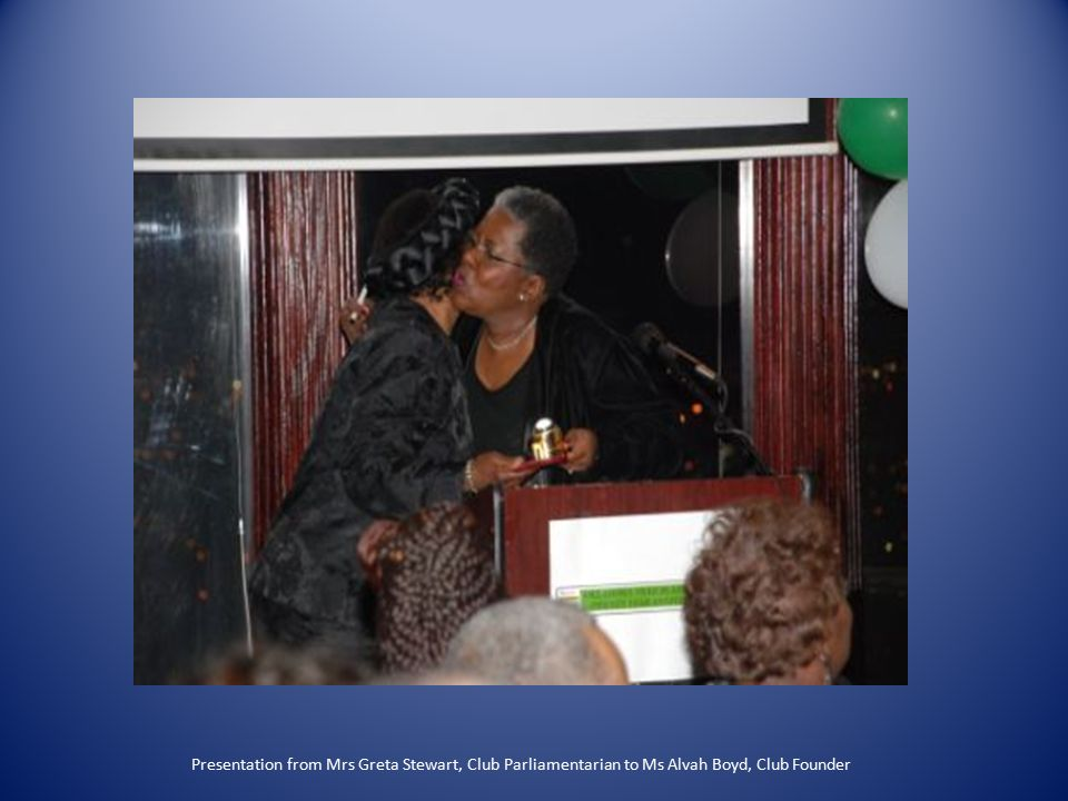 Presentation from Mrs Greta Stewart, Club Parliamentarian to Ms Alvah Boyd, Club Founder