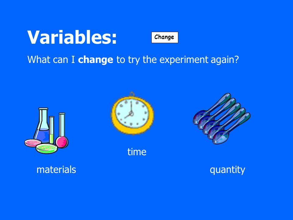 Variables: What can I change to try the experiment again time materials quantity Change