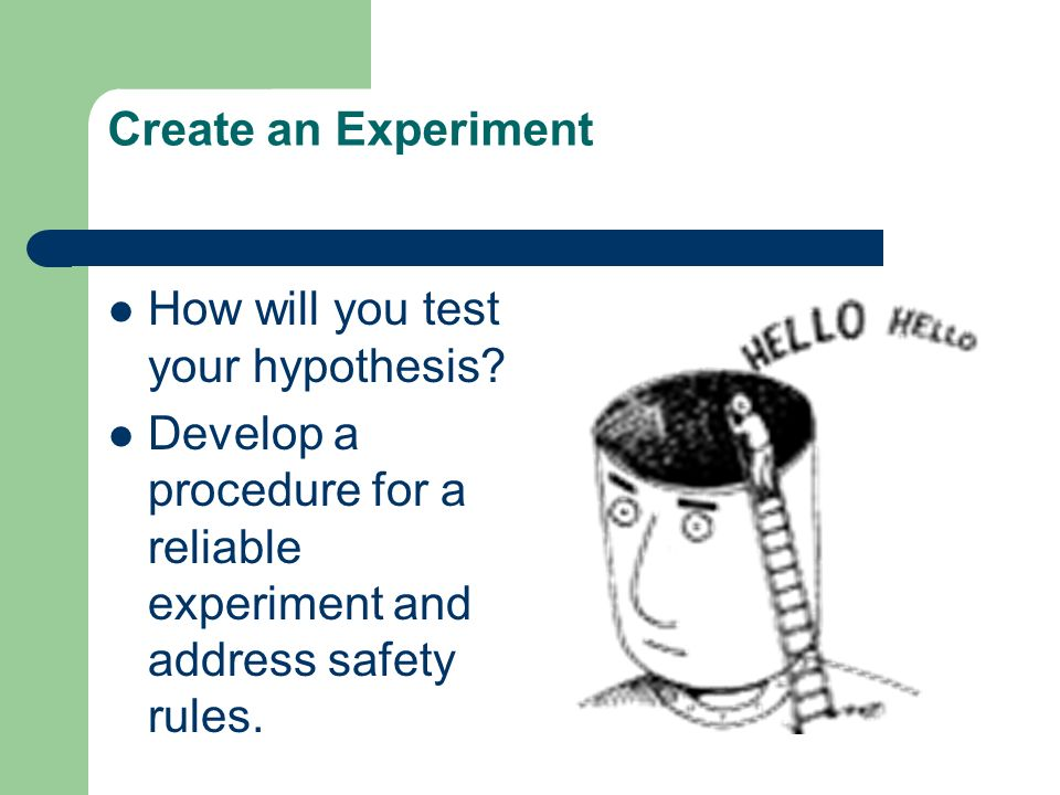 Create an Experiment How will you test your hypothesis.
