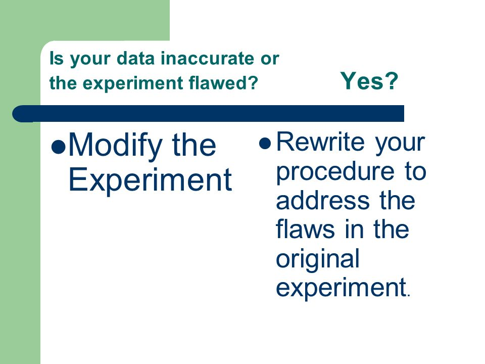 Is your data inaccurate or the experiment flawed. Yes.