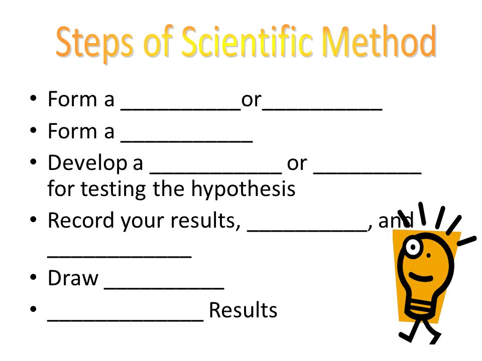 Form a __________or__________ Form a ___________ Develop a ___________ or _________ for testing the hypothesis Record your results, __________, and ____________ Draw __________ _____________ Results
