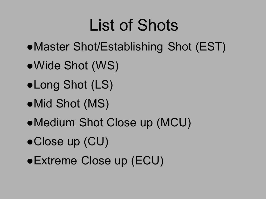 shot types and use list of shots master shot establishing shot