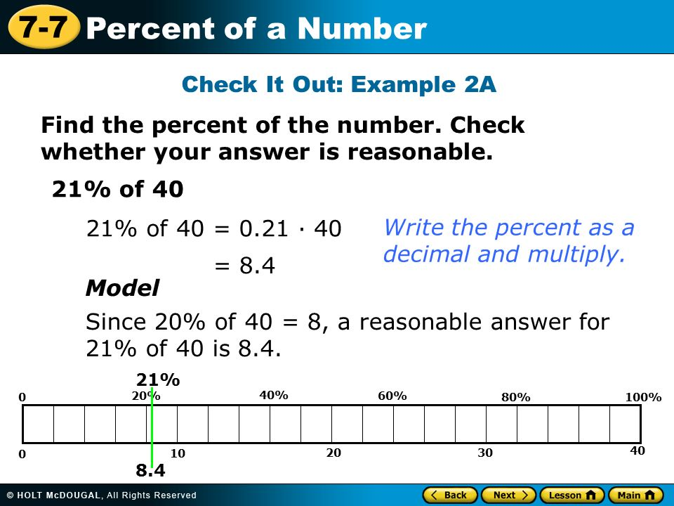 7 7 Percent Of A Number Find The Percent Of The Number