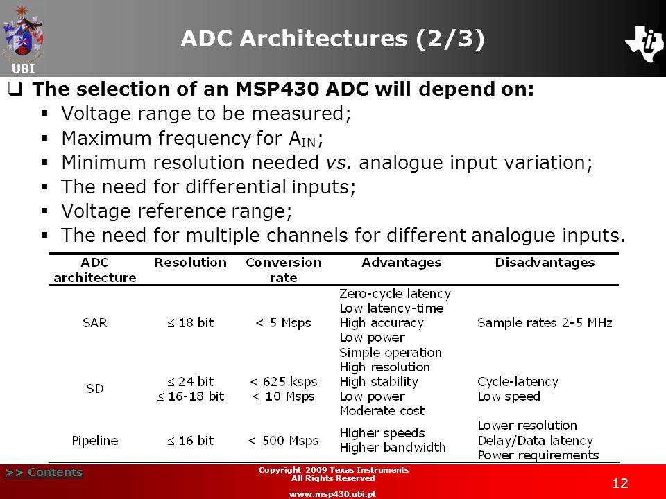 UBI >> Contents Lecture 8 SAR ADC MSP430 Teaching Materials Texas